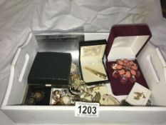 A mixed lot of brooches, scarf ties, tie pin, badges & cufflinks etc.