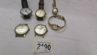 A quantity of wrist watches including Accurist and Russian Poljot watch heads.