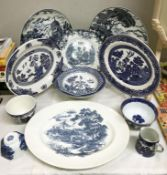 A quantity of blue & white plates including Willow & Enoch Wedgwood