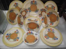 Royal Staffordshire crocus by Clarice Cliff, plates and bowls, wear to pieces,