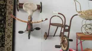 Two 1950's child's tricycles for restoration.