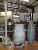 3 tall vases, willow pottery, green and brown metal and opaque glass, height; 43cm,