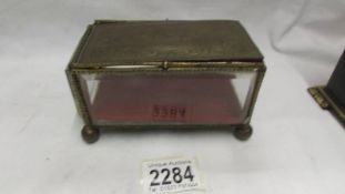 A French glass and metal jewellery box (a/f).