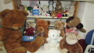 A large lot of assorted soft toys.