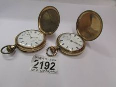 A gold plated Waltham full hunter pocket watch and one other, in working order.