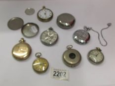 Two gold plated pocket watches and other pocket watches for spare or repair..