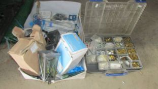 Two boxes of assorted tools, screws etc.