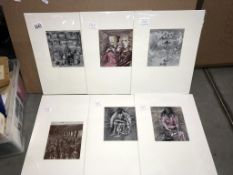 Henry Moore (1898-1986) Collection of 6 shelter sketch prints circa 1945.