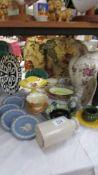A mixed lot of ceramics including large ewer, Wedgwood Jasper ware etc.