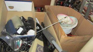 Two boxes of miscellanoeus tools, china etc.
