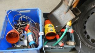 Two boxes of garden and cycle bits. (Collect only).