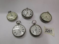 Five good gents silver pocket watches, all in working order but would benefit from cleaning.