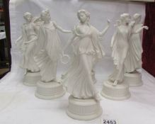 Six Wedgwood Blanc de Chine style Dancing Hours figures, Five in very good condition with no damage,