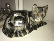 A signed Winstanley Tabby cat with glass eyes, size 5, no chips/cracks,
