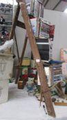 A wooden step ladder.