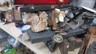 A mixed lot including brassware, scales etc.
