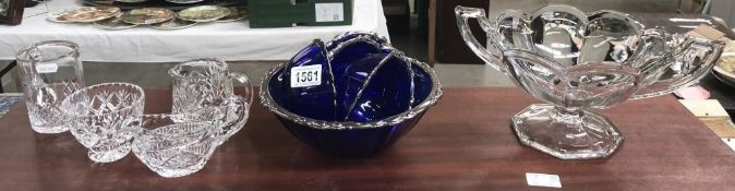 A selection of glass ware including silvered edged blue glass fruit set & large urn fruit bowl etc.