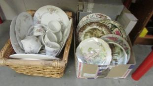 A basket of Joy Grant floral bone china dinner ware and a box of collectors plates