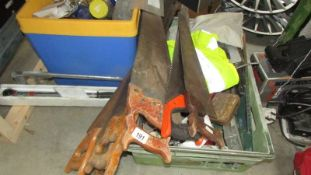 A large quantity of tools including 6 saws.