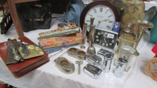 A mixed lot of vintage boxes, silver sugar tongs, clocks etc.