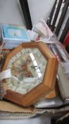 A box of miscellaneous including toaster, clock, ornaments etc.
