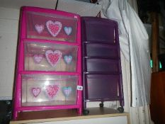 Two plastic drawer units (Collect only).