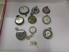 Nine old pocket watches for spare or repair.