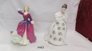 Two Royal Doulton figurines, Summer Rose HN 3309 and Melissa HN 2467.