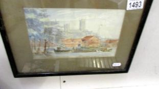 No 6 A late 19th C watercolour dated Oct 1887 The Brayford Lincoln with Cathedral in the distance