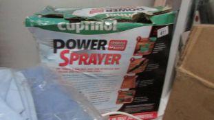 A Cuprinol cordless power sprayer in tatty box, unused.