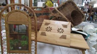 A reading table and a quantity of basket ware (Collect only)