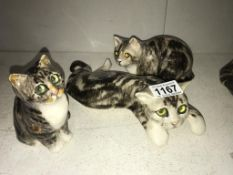 3 signed Winstanley Tabby kittens, sizes 5, 2, & 1, no chips/cracks,