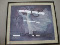 A large glazed Angel Wings print by Laverne Ross 87 x 75 cm