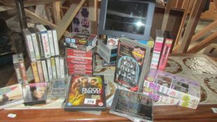 A good collection of cassette tapes, CD's, DVD's and VHS video's including Dr Who.