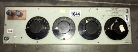 A vintage Sullivan dual dial non-reactive resistance selector unit (Serial 6478/1958) (Collect only
