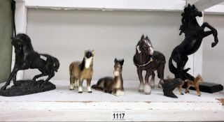 A selection of horse ornaments including early Spelter model
