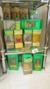 A big lot of Tetley tea folk in boxes.