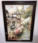 A large framed print of boating Regatta entitled 'Boulter's Lock'
