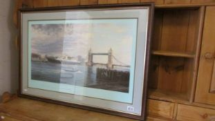 """A framed and glazed limited edition print """"The Royal Yacht Brittania"""" by Robert Taylor,"""