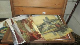 A wooden box of unframed pictures. (Collect only).