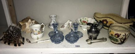A mixed lot including conch shells, India Tree, Aynsley, silver plate,