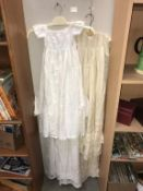 4 antique Christening robes/gowns