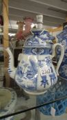 A blue and white teapot.