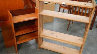 Two pine book shelves.