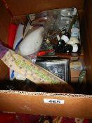A box of miscellaneous china.