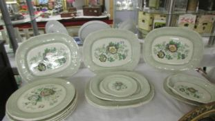 Seven Mason's Paynsley pattern meat platter with 6 matching dinner plates, 2 side plate and a dish.