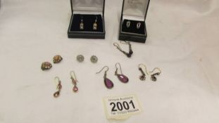 Two pairs of silver earrings and six other pairs of earrings.