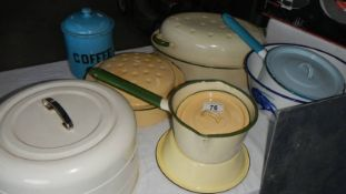 A mixed lot of enamel ware.