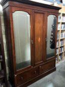 An Edwardian inlaid mahogany combination wardrobe -Height 206cm x Depth 47cm (including cornice 54.