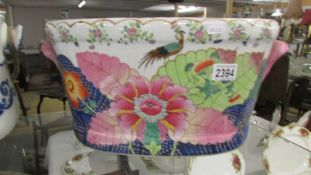 A Chinese floral decorated foot bath.